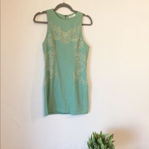 Lush Mint Mini Dress with Gold Metal Accents S